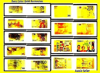 Special 9  Euro Gold 24Kt Banknotes  Colored Gold + 9 Coas Bank Note Europe Set