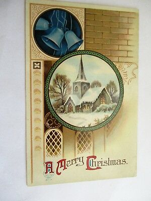 Church & Winter Scene - Old Christmas Greetings Postcard