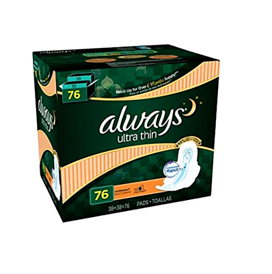 Always Ultra Thin Overnight Pads with Wings - 76 ct. Trusted Protection No Leaks