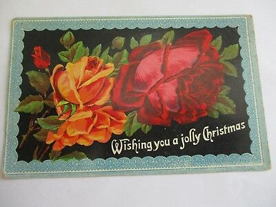 Red Roses - Old Christmas Greetings Postcard