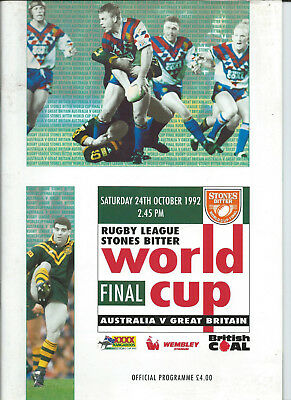 1992 Rugby League World Cup Final programme - Great Britain vs. Australia