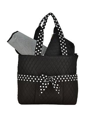 NEW Lar Lar Quilted Solid Large 3pc Diaper Tote Bag (Black/White)