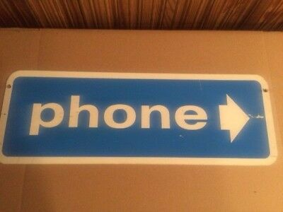 Vintage Blue Metal Double Sided Telephone Phone Sign