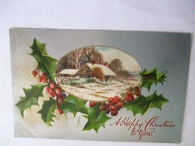 Holly & Winter Scene - Old Christmas Greetings Postcard