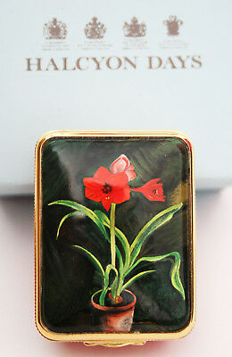 Halcyon Days Enamel Pill Box {Amaryllis Lily} Based On A Painting By Churchill