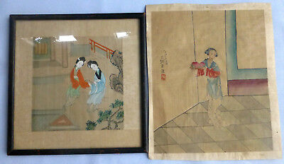 Lot of Two  Antique Chinese Silk paintings