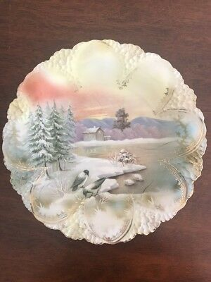 "RS PRUSSIA 8.5"" Plate Cottage And Birds"