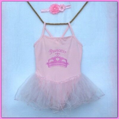 Girl's Costume Pink Leotard with Pink Princess Crown Tutu S 8 Headband included