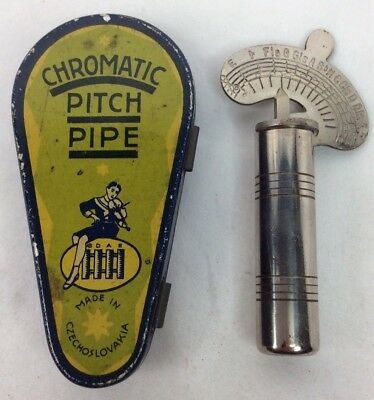 Vintage Chromatic Pitch Pipe In Original Czechoslovakia Tin Case (I142)