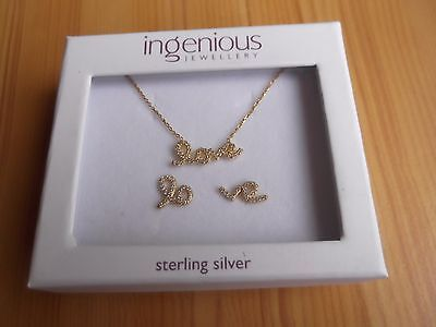 925 Sterling Silver Necklace And Earring Set.Gold Plated Love With Cubic Zircon