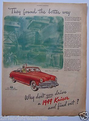 """1949 Kaiser Convertible Car Magazine Ad Full Page 10"""" x 13.5""""  Vintage"""