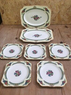 Vintage Crown Ducal Afternoon Teaset - 5 X Tea Plate , 2 X Cake/ Sandwich Plate