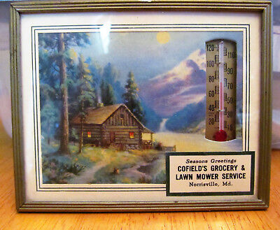 Vintage Framed Lithograph Advertisement Picture Thermometer Barn Autumn 1960's