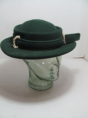 Vintage Knox Fifth Ave Green Velvet Hat W/jeweled Adornment 23 Inch