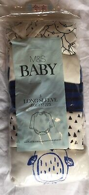 New Baby Boys M&S Long Sleeved Vests 18-24 Months