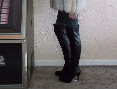 "Worn Black Soft Over The Knee Boots With 5"" Stiletto Heels Very Erotic - Size 5"