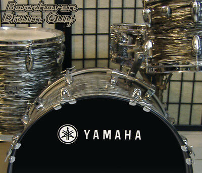 Yamaha, 70s Vintage, Repro Logo - Adhesive WHITE Vinyl Decal, for Bass Drum Head