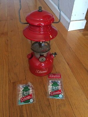 Vintage Coleman Lantern 200A Red 6-59 With 3 Extra Mantles Clean single mantle