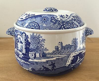 """SPODE """"Blue Italian"""" Imperial Cookware Lidded Round Casserole Dish Oven To Table"""