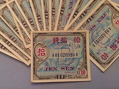 Lot of 12 - Japan Ten 10 Sen Series 100 B Military Payment Certificates P 64 Unc
