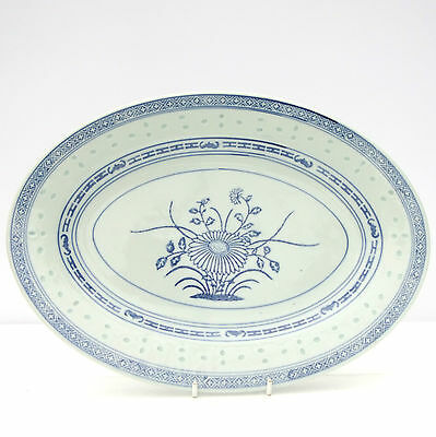 Vintage Chinese Rice Grain Pattern Blue White Oval Plate Platter