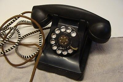 Antique Vintage Bakelite Western Electric Rotary Dial Desk Telephone For Restore