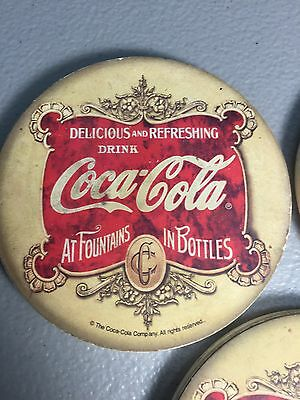 RARE Used COCA-COLA COASTERS (x3) EACH MEASURES ROUGHLY 4 INCHES