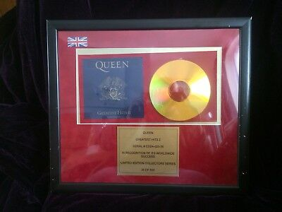 Queen - Greatest Hits 2 - CD 24ct GOLD PLATE - Limited Edition Framed Display