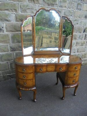 Antique Burr Walnut Dressing Table Vanity Table