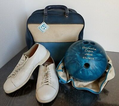 Vintage Brunswick Crown Jewel blue Bowling Ball with Bag and Shoes GSL0675