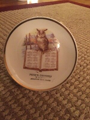 Antique Collectible Plate 1912 Calendar With Owl Peck's Grocery Arkansas City