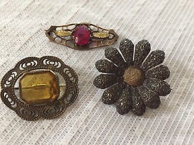Lot 3 Antique Victorian Edwardian and Deco Pins 1 Sterling