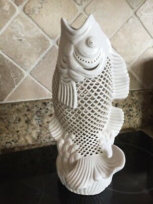 "Blanc De Chine Fish Statue, Asian Figurine. Japanese Vase. White & 12"" Tall"