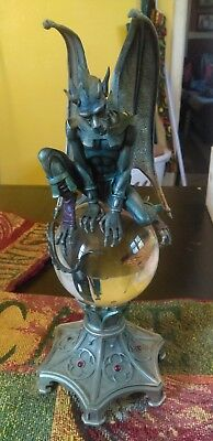 Franklin Mint Guardians Of Destiny Pewter Gargoyle Crystal Ball Sculpture Statue