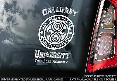 Gallifrey University - Car Window Sticker - Doctor Dr Who 'Time Lord Academy'