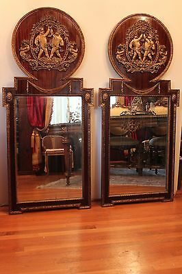 Pair Of Antique French Mahogany Wood And Bronze Cherub Mounted Wall Mirrors