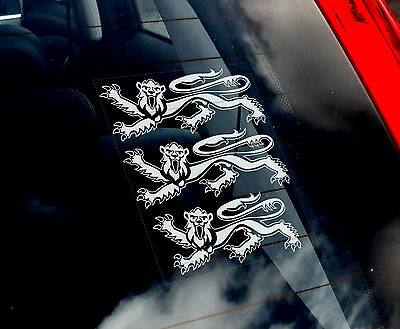 Three Lions - Car Window Sticker - England Royal 3 Coat of Arms Football Sign