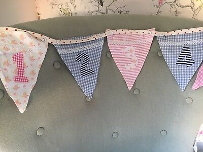 Nursery Handmade Number Bunting 1-9 In Pastel Pink & Blue New Baby Nursery Gift