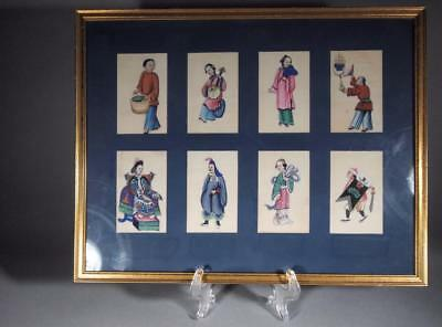 Antique Chinese Qing Paintings on Plinth Paper Set of 8 Framed