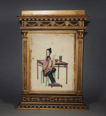 Antique Chinese Qing Painting on Plinth Paper in Period Frame