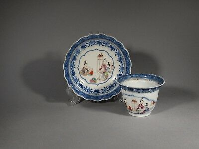 Fine Chinese Export 18th c. Mandarin Cup and Saucer