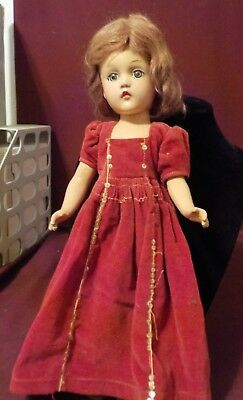 Vintage Madame Alexander Doll- Composite Light Auburn Hair Blue Eyes- Red Dress