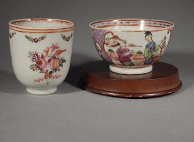 Chinese Export 18th c. Mandarin Palette Tea Bowl and Famille Rose Cup