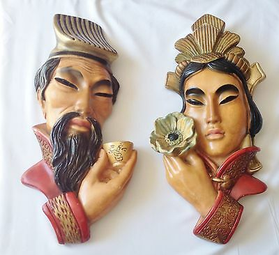 Pair of Oriental Head Wall Plaques - Oriental Man and Lady Plaques - Bacci