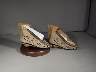 Pair of Chinese Qing Dynasty Embroidered Shoes for Bound Feet