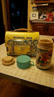 Vintage walt disney metal school bus lunchbox