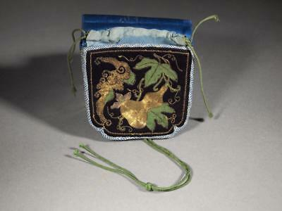 Antique Chinese Qing Dynasty Embroidered Silk Purse