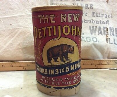 Vintage The New Pettijohns Rolled Oats Cardboard Cylinder Container