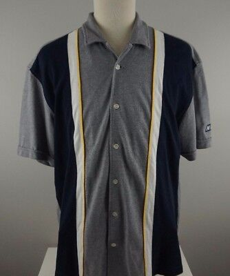 NAUTICA MARINE DENIM Men's Polo Shirt Medium VTG Gray Short Sleeve Button Front