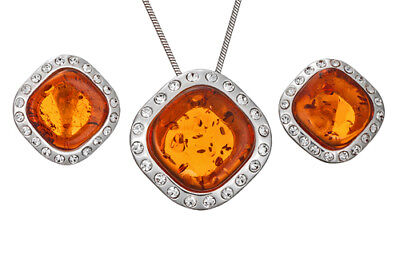 Sterling Silver 925 Baltic Amber Cubic Zirconia Set Pendant Earrings Jewellery